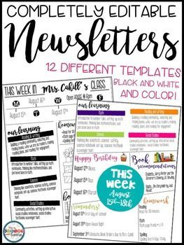 Newsletters Editable For Meet The Teacher Back To School Open House Forms This Resource