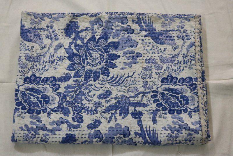 Traditional Floral Print Kantha Quilt Queen Size Pure Cotton Vintage Blanket Bedspread Kantha Throw Gudari Coverlet Blue Quilt
