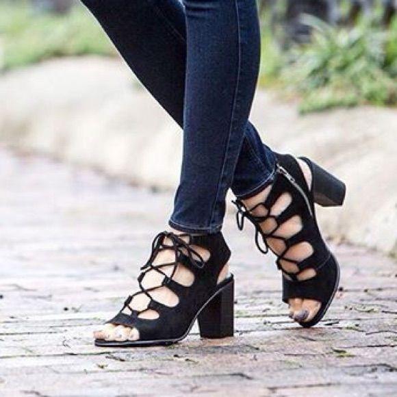2f23d939e95 Steve Madden Black Nilunda Lace Up Block Heel | Products | Shoes ...