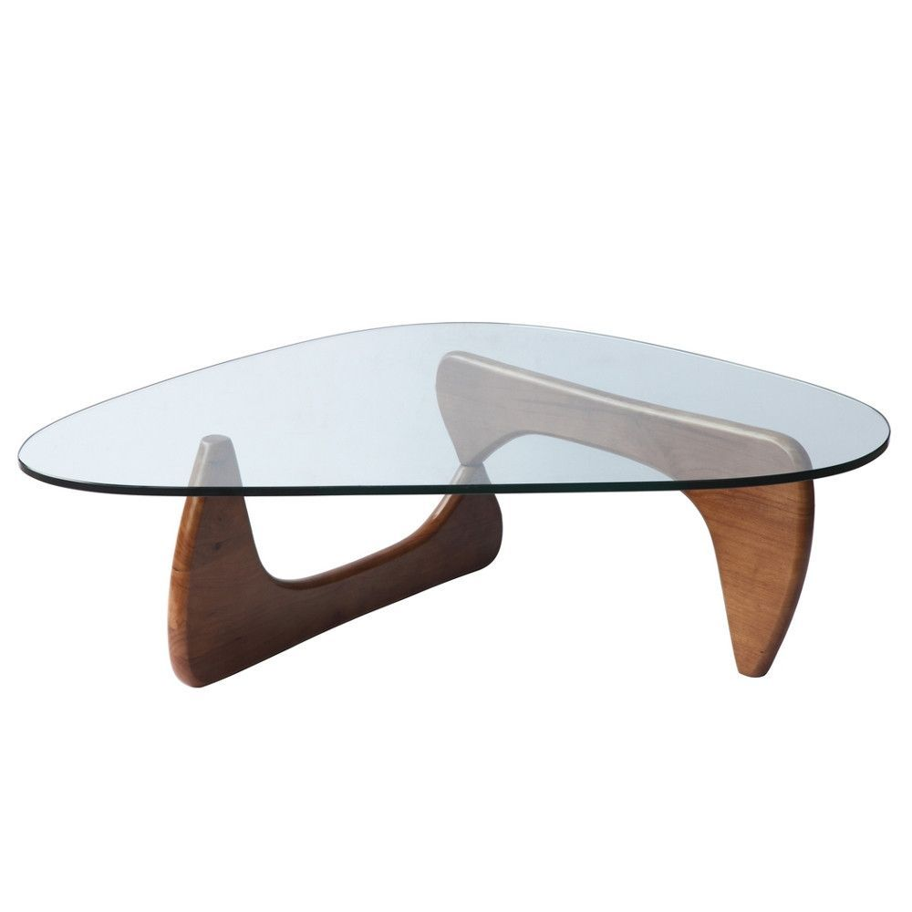 Isamu Noguchi Style Triangle Wood And Glass Coffee Table With Mid