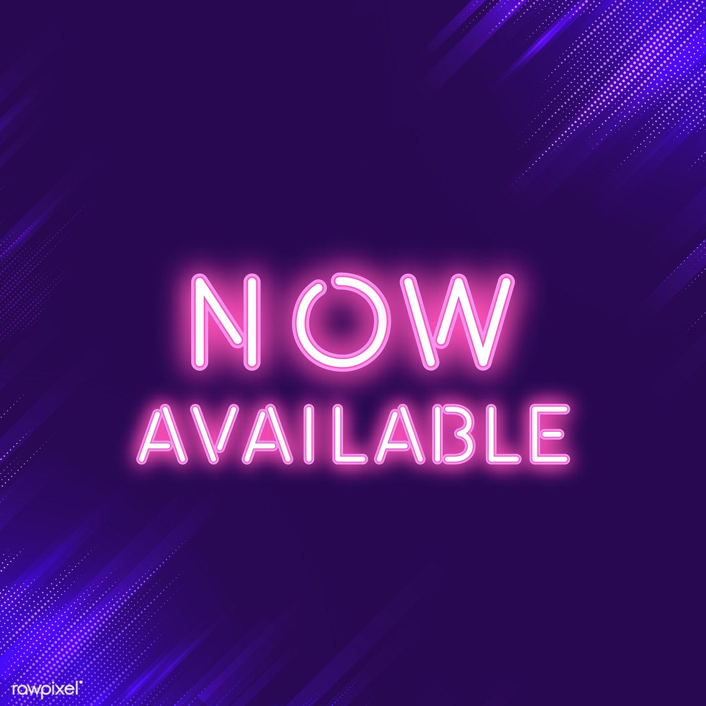 Pink now available neon sign vector free image by