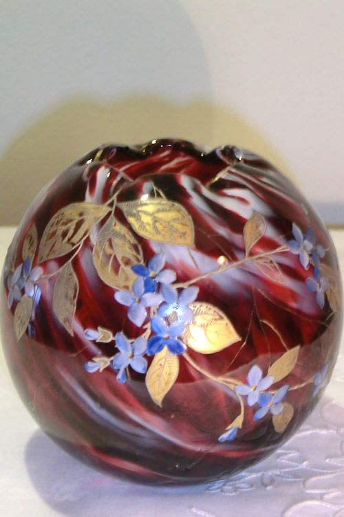 HARRACH DARK RED/WHITE GLASS BOWL WITH ENAMELED FLOWERS IN BLUE AND GOLD. Circa 1890 www.madforglass.com