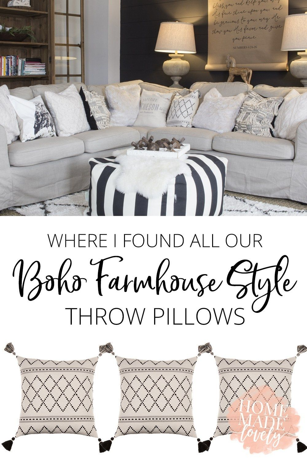 Where I Found All Our Boho Farmhouse Style Throw Pillows Farmhouse Couch Farmhouse Sofa Throw Pillow Styling