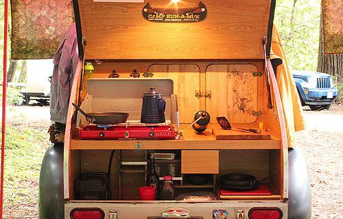 Teardrop Camper Interior teardrop trailer sleeps 2 adults and
