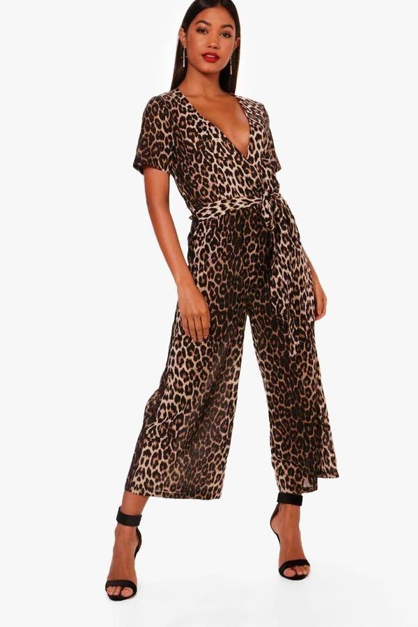 dd488bc4327c0 Leopard Print Wrap Front Culotte Jumpsuit in 2019 | Leopard ...