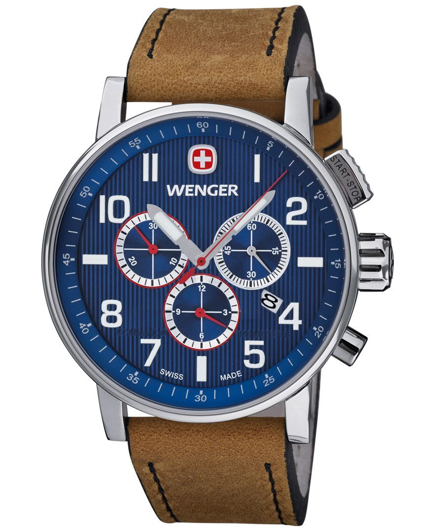 972f4749d95 Wenger Men s Swiss Chronograph Commando Brown Leather Strap Watch 43mm  01.1243.101