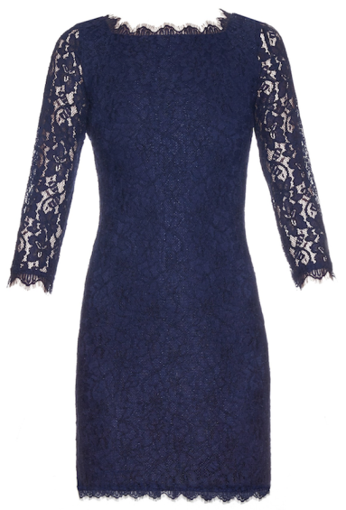 Robe en dentelle bleu marine à manches, Diane Von Furstenberg, noel  réveillon 014d0b49649b