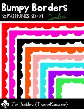 Bumpy Borders  Frames #1 Clip Art!  You will LOVE these bright and bumpy borders!  They are absolutely perfect for adding to parent newsletters, literacy and writing stations, activities, printables and student worksheets, etc.    Add a little bright cheer to your teaching materials.    *There are 35 borders / frames graphics included in this download.