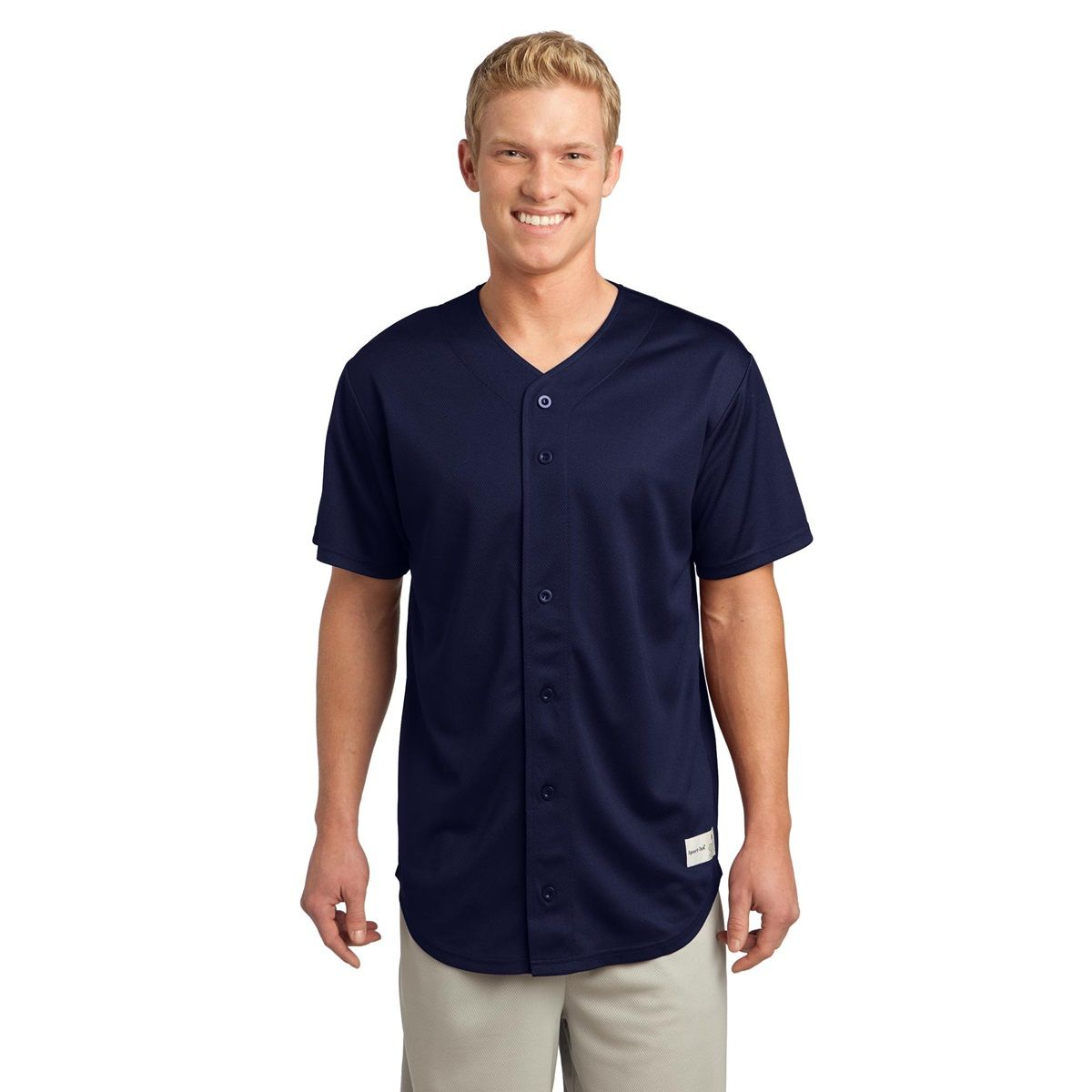 Sport-Tek ST220 PosiCharge Tough Mesh Full-Button Jersey T-Shirt - True Navy - With buttons placed for ease of embellishment, this classic jersey scores with its durable (yet soft and smooth) PosiCharge Tough Mesh. | FullSource.com