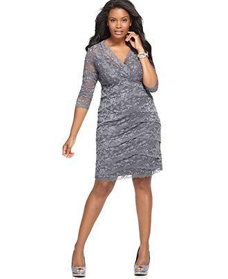 Grey lace dress plus size