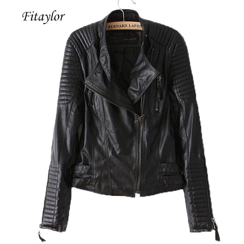 Women/'s Slim Fit PU Leather Crop Coat Punk Rock Biker Zipper Motorcycle Jacket