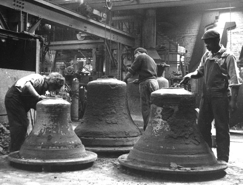 Bell making, Whitechapel Foundry. Cleaning the new bells, cast the previous day.
