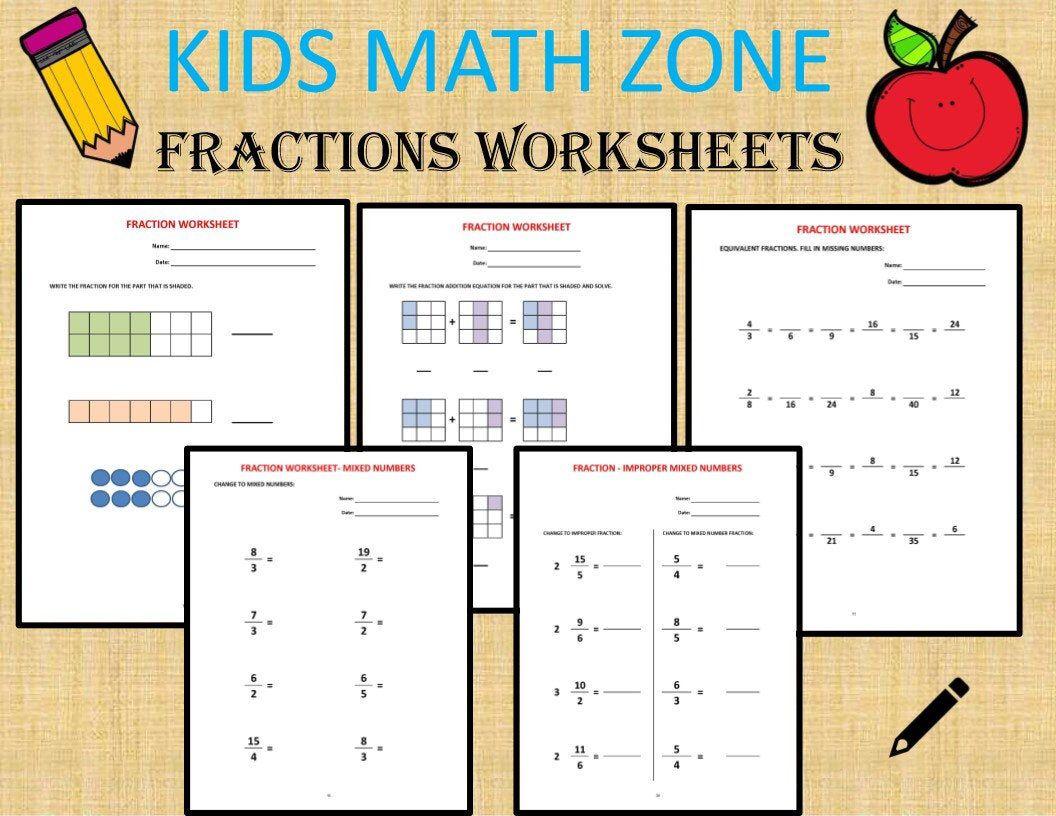 Fractions 36 Worksheets Equivalent Fractions Mixed Etsy Fractions Worksheets Math Worksheets Addition Of Fractions Worksheets [ 816 x 1056 Pixel ]