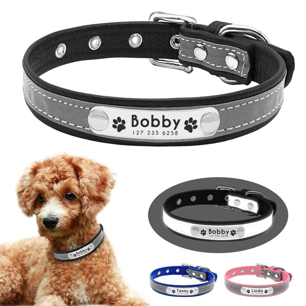 c0f94377d484 Beirui Reflective Custom Dog Collar with Soft Padded Personalized Engraved Dog  ID Collars with Nameplate Leather Dog Cat Collar for Small Medium Puppy Dogs  ...