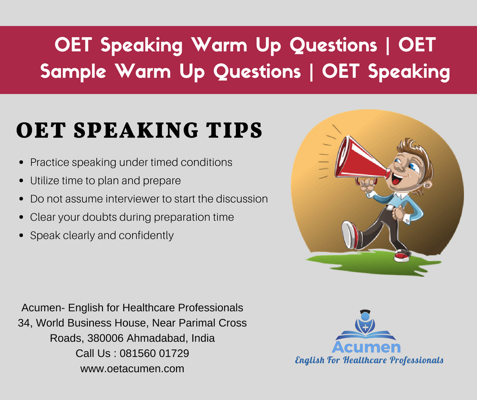warm up questions and answers for oet