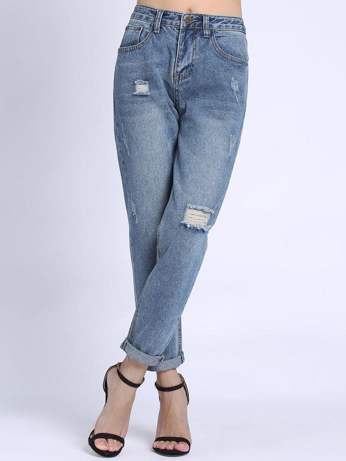 Romwe Ripped Cuffed Jeans