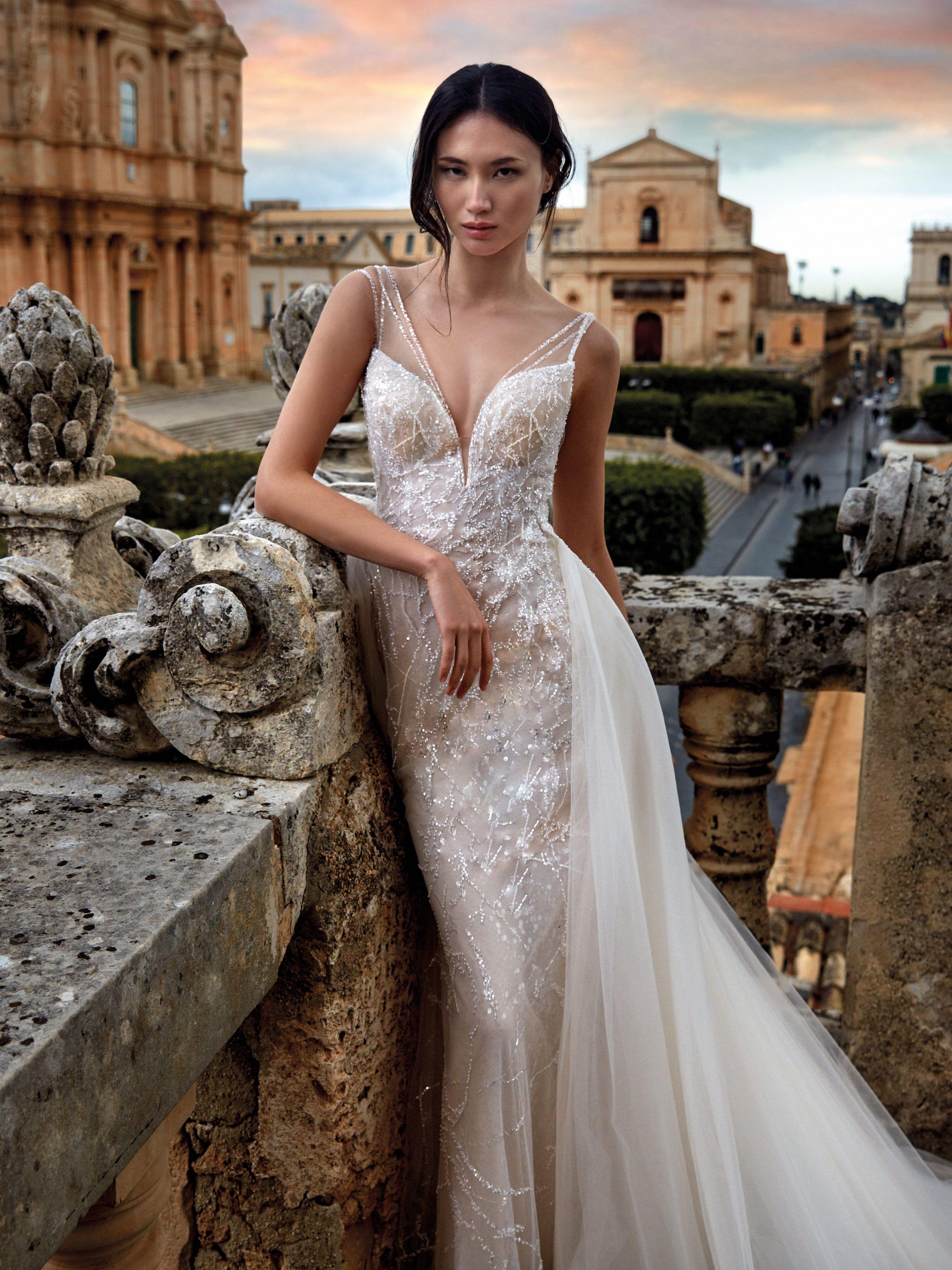 Mermaid Wedding Dress With Tulle Overskirt Wedding Dresses Simple Wedding Dress Boho Mermaid Wedding Dress [ 3508 x 2631 Pixel ]