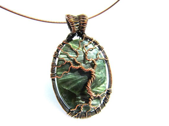 Green Russian Seraphinite Stone Tree of Life by CarrieEastwood