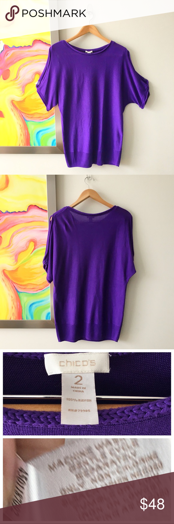 CHICO'S Cold Shoulder Royal Purple Summer Sweater | Sexy, Summer ...
