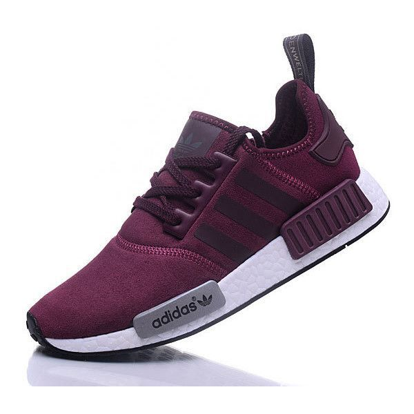 Adidas NMD R1 Cashmere skin Runner Shoes Red Wine ? liked on Polyvore  featuring shoes,