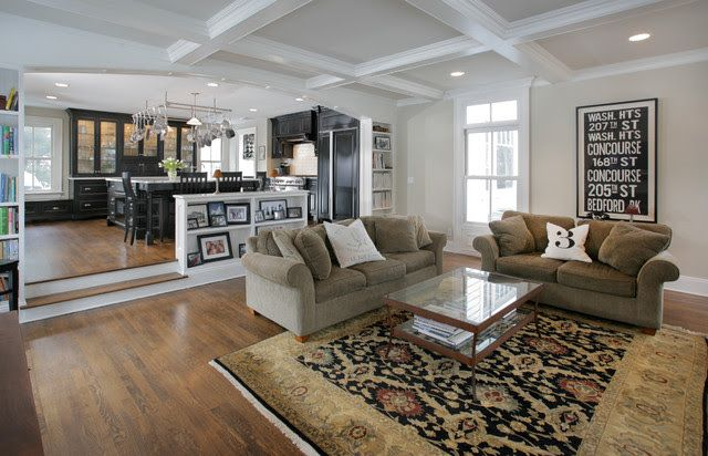 Steps Down To Great Room W Shelves Facing Great Room And Coffered Ceiling Sunken Living Room Step Down Living Room Stairs In Living Room