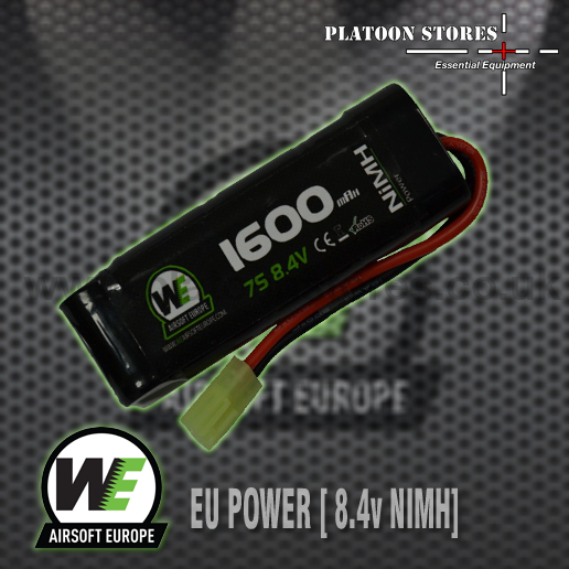 Part of a new range of Batteries from WE Airsoft Europe.  This 8.4v, small tamiya connected, 1600 mah battery is an essential for most airso...