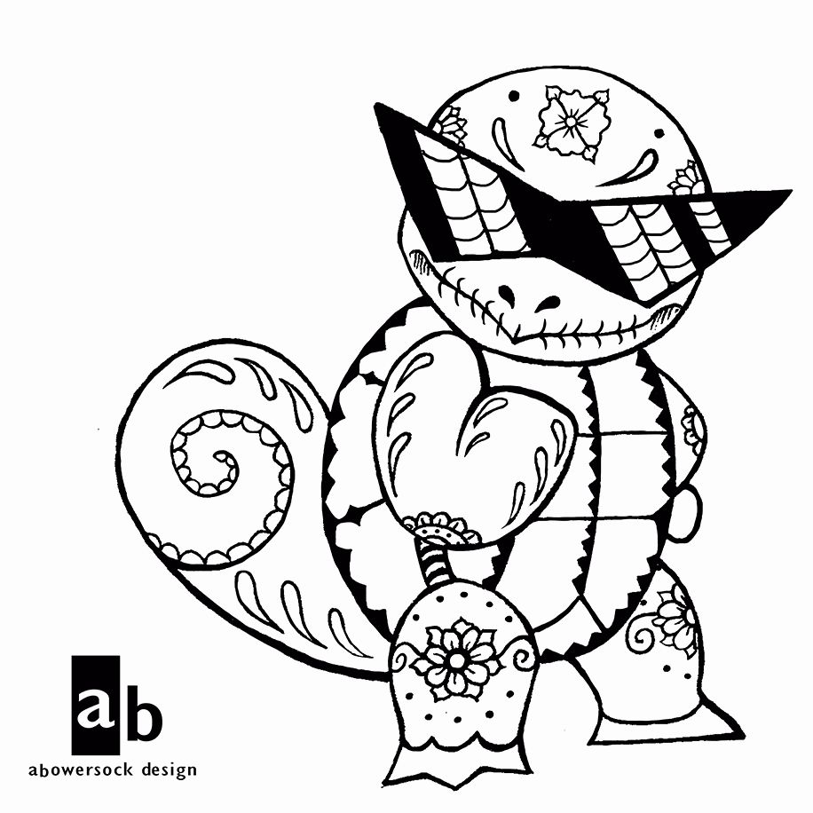 Blastoise Coloring Page - Scenery Mountains