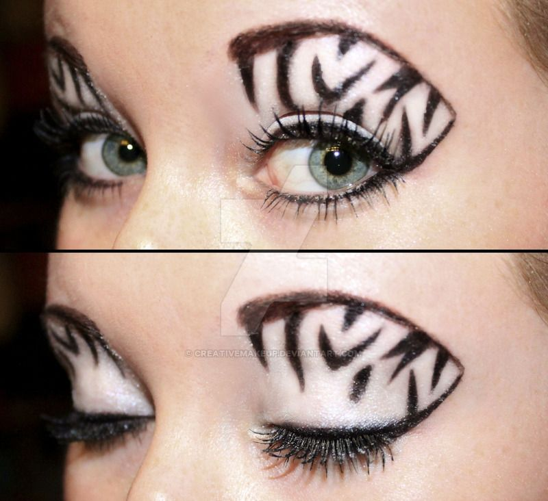Zebra Eyeshadow By Creativemakeup On Deviantart Zebra Eye Makeup