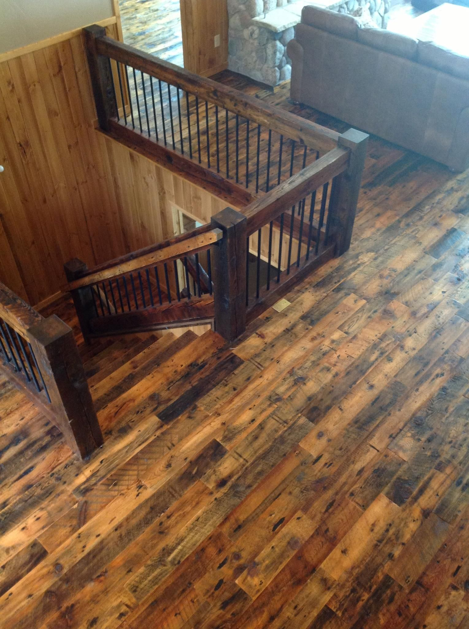 Rustic Mountian Stair Railings: Rustic, Simple Dark Newel Posts & Banister With