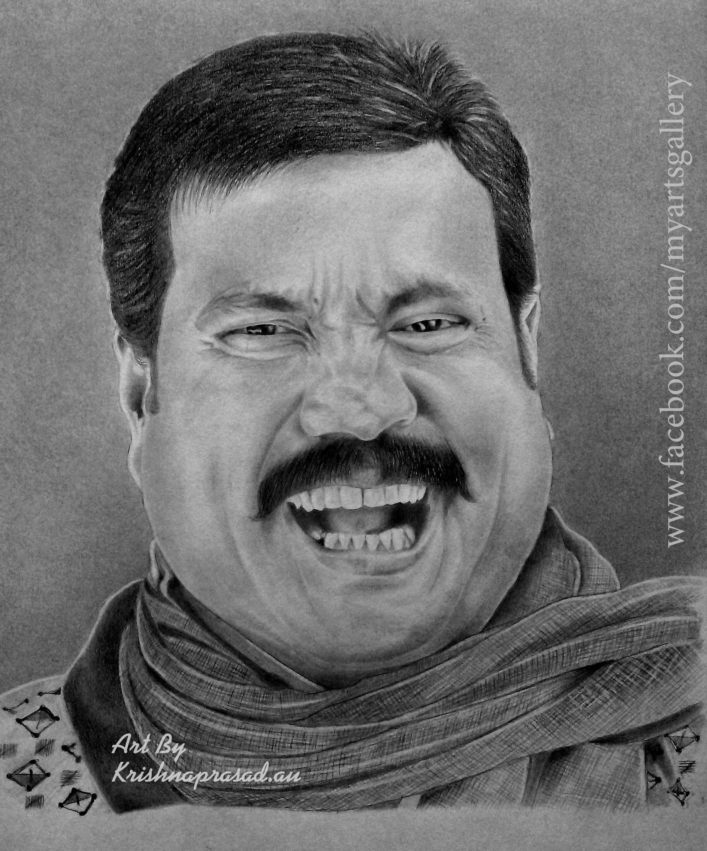 My art work portrait of actor kalabhavan mani pencils camlin 10b 8bhb6h4h5bh6h duration 30 hours size a4 www facebook com