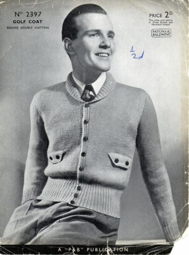 Details About Vintage 1930 S 1940 S Men S Knitting Pattern For Golf