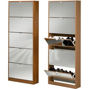 Tvilum Springfield 5 Drawer Shoe Cabinets With Mirror Drawer Fronts In  Beech   Walmart.com
