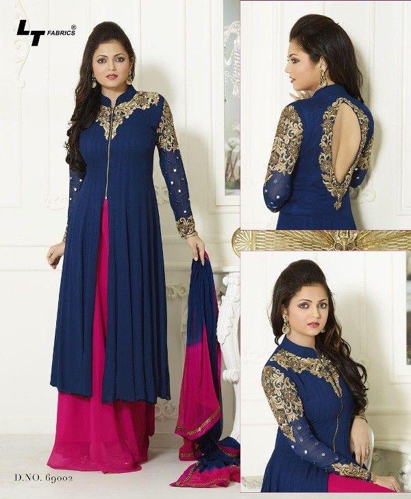 Drashti Dhami Georgette Zari Work Blue Semi Stitched Long Anarkali Suit - S07 In Stock: Rs 1,199