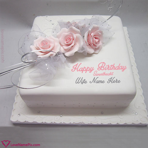 Rose Birthday Cake For Wife With Name Photo Happy