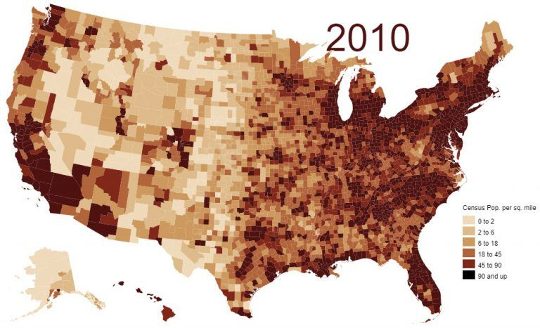 Map Of Population Density In The U S Vivid Maps In 2020 Data Visualization Map Visualisation
