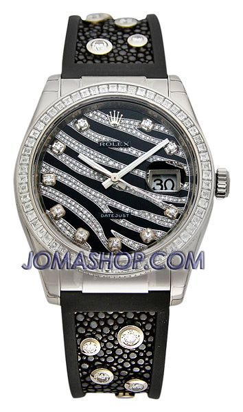 Rolex Datejust Zebra Stripe Diamond Dial Mens Watch 116189BBR $64,329