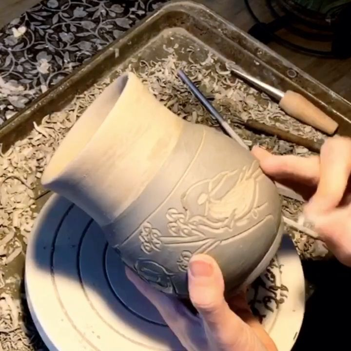 Chickadee mug in process, Sgraffito by N3 Pottery