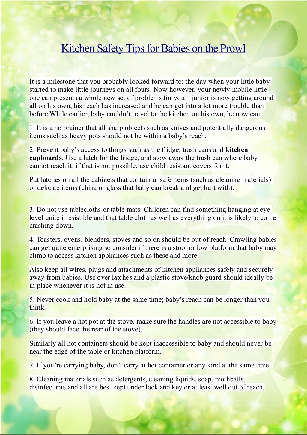 Kitchen Safety Tips for Babies on the Prowl by Guangzhou Prodigy ...