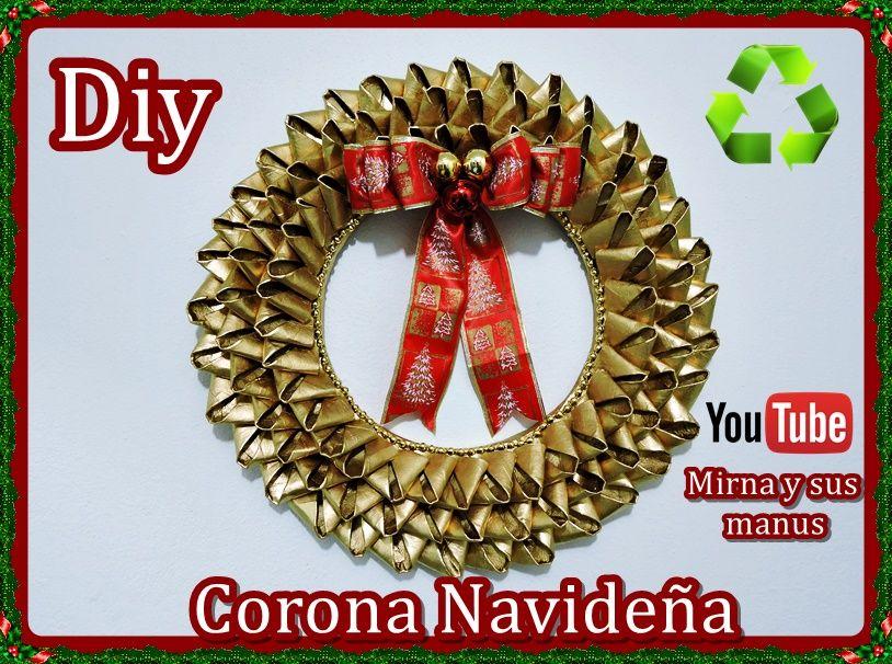 Diy corona navide a reciclando tubos de papel higi nico for Materiales para manualidades navidenas