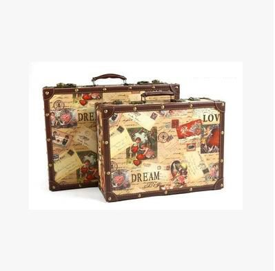 New! Fashion vintage suitcase old style wooden box travel bag ...
