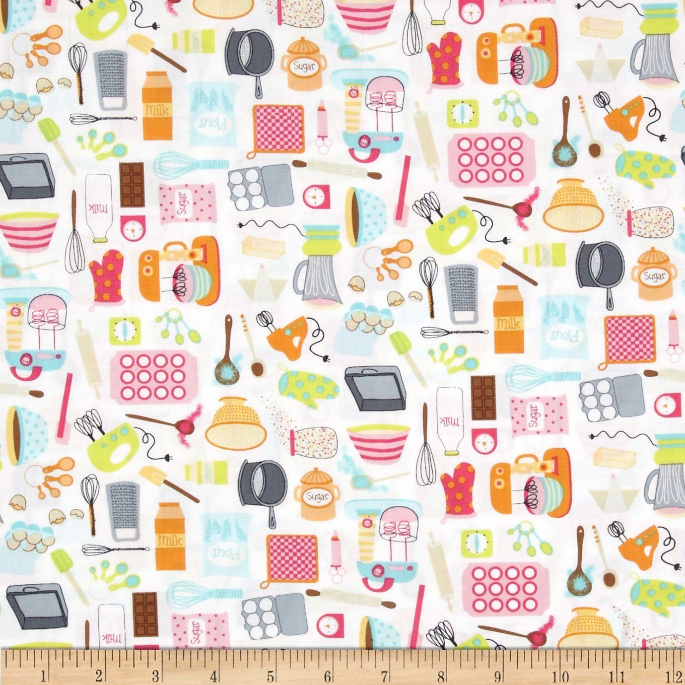 AmazonSmile: Timeless Treasures Mini Baking Utensils White Fabric ...