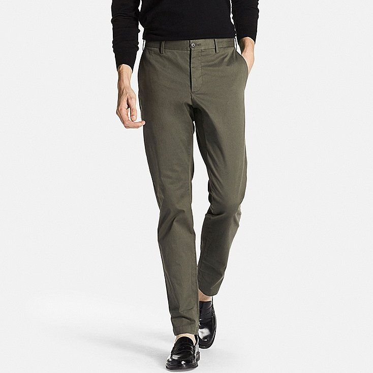 MEN SLIM FIT CHINO FLAT FRONT PANTS, OLIVE, large