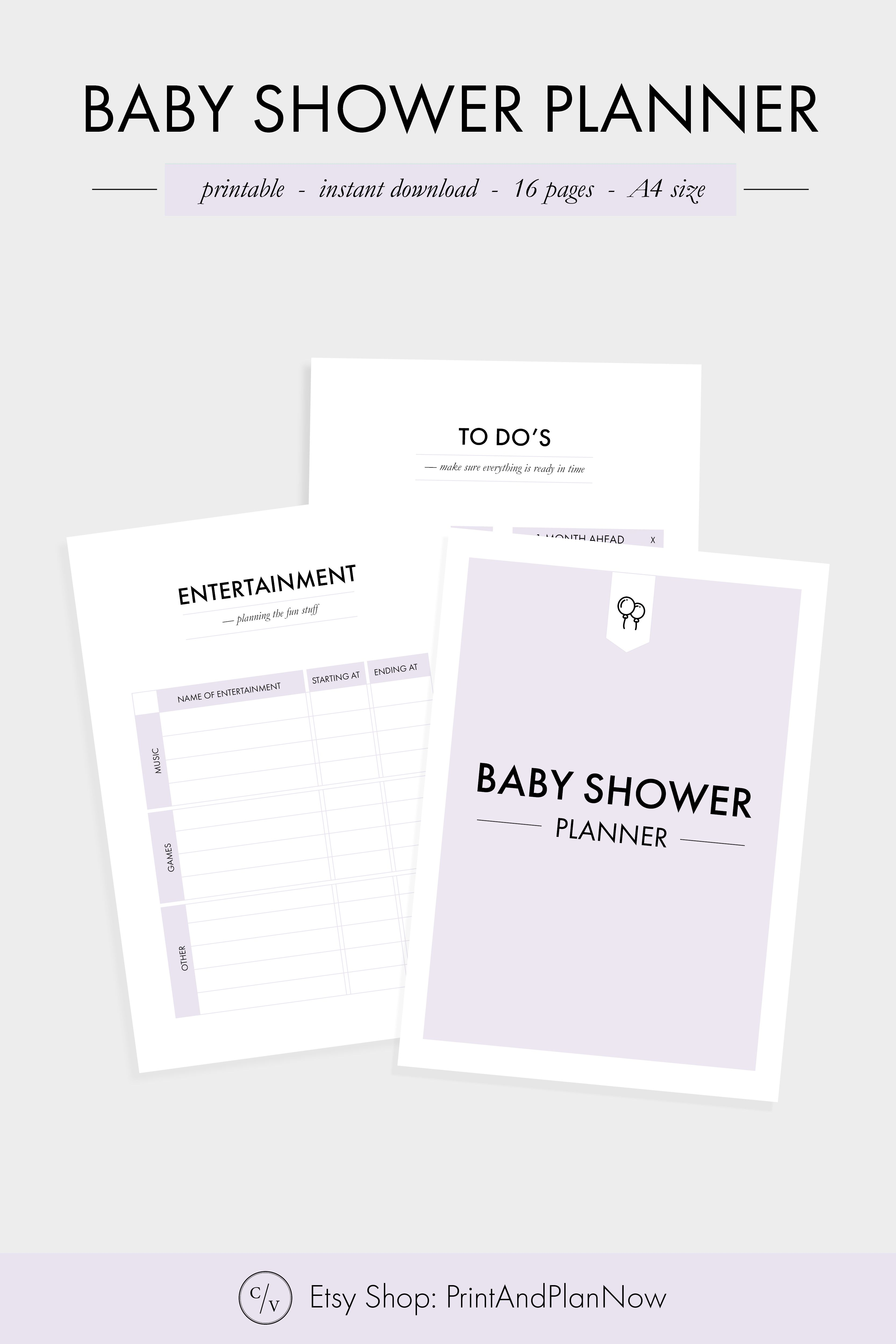 Printable Baby Shower Planner Party Planner Printable