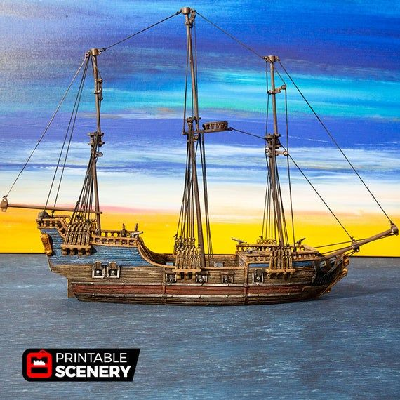 The Lost Islands - Frigate Mk2 - 15mm 28mm 32mm Wargaming Terrain D&D, DnD, Pathfinder, SW Legion, W #wargamingterrain