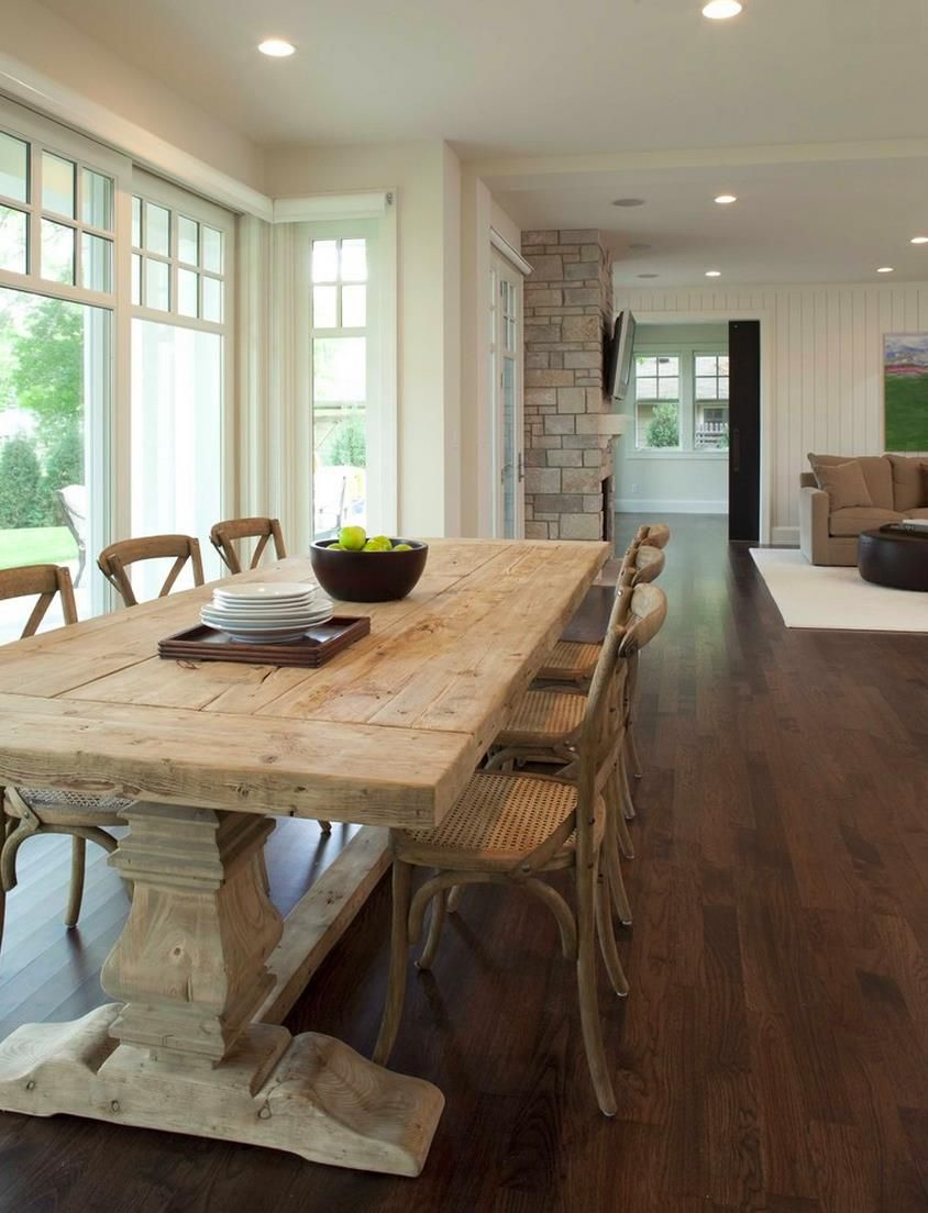 weathered wood dining table. Weathered Trestle Table In A Light And Airy Dining Room - Decoist Wood N