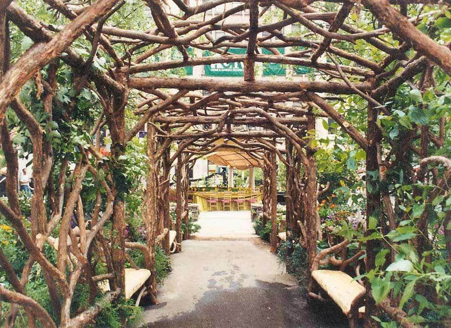 Rustic arbors pergolas wedding chuppahs branch for Trellis or arbor