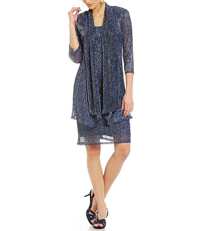 White apron amazon.ca - R M Richards Sleeveless Cascade Front Metallic Knit Dress And Jacket Amazon Ca Clothing