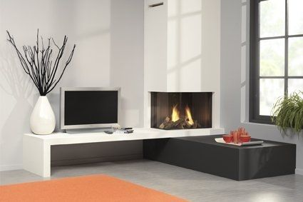Camino angolare moderno  Camini  Pinterest  Modern electric fireplace, Ele...