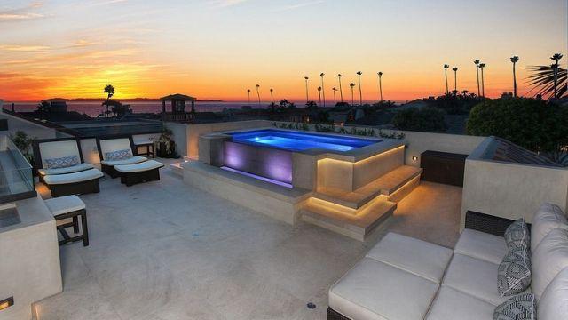 Luxury dachterrasse whirlpool led streifen indirekte beleuchtung