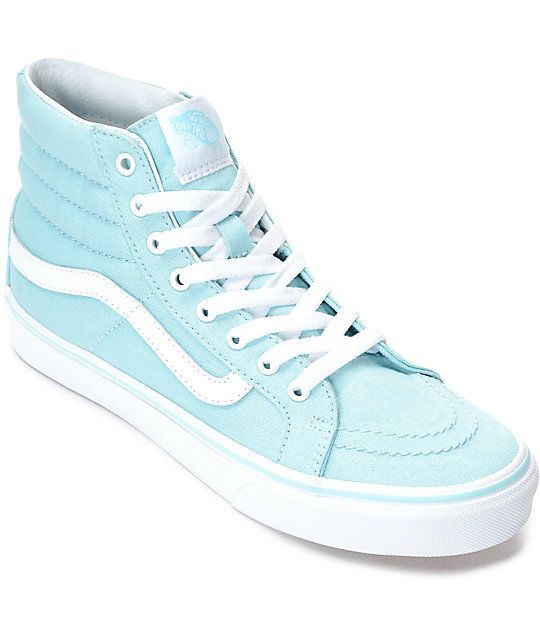 21435cf162 The iconic Vans Sk8-Hi gets re-introduced as the Sk8-Hi Slim Crystal Blue  and White Canvas Shoes. Featured with a pastel blue canvas upper